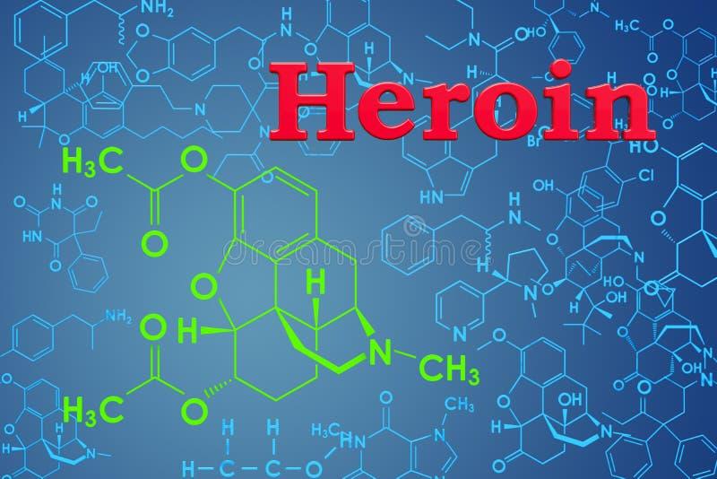 Heroína, diamorphine Fórmula química, estructura molecular 3D r ilustración del vector