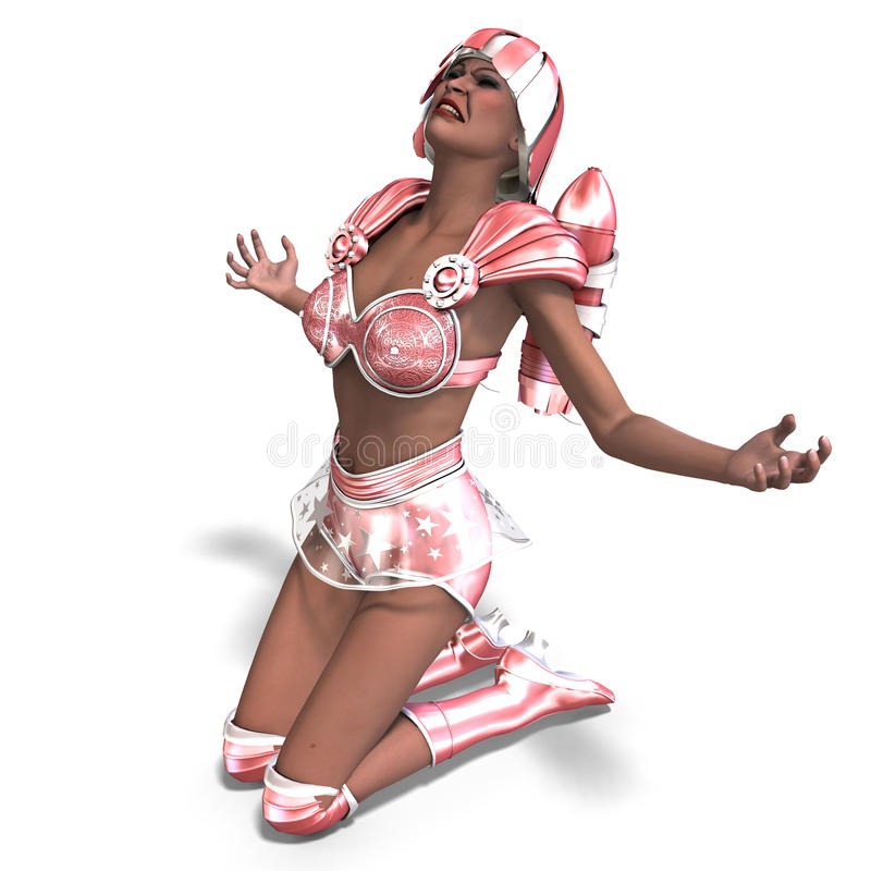 Heroína super com o equipamento retro cor-de-rosa ilustração do vetor