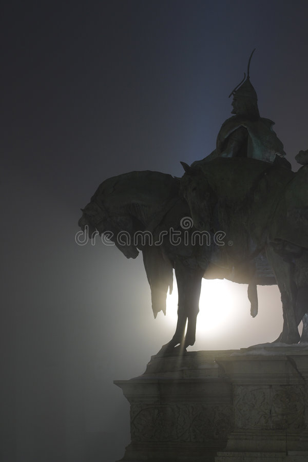 Hero. Statue of Arpad, a national hero of Hungary royalty free stock photography