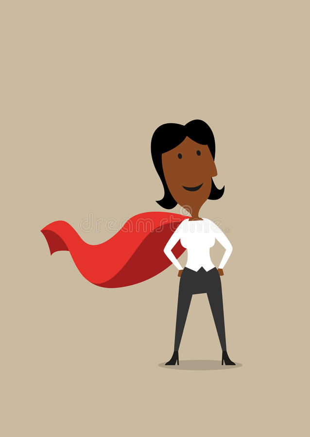 Hero cartoon businesswoman in red cape. Cartoon confident hero african american businesswoman wearing red cape, ready to business achievement royalty free illustration