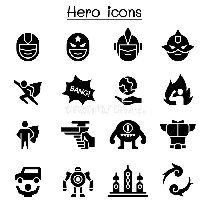 Hero icon set vector illustration