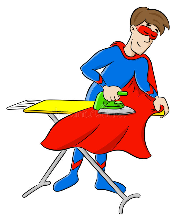 Hero ironing his cape. Vector illustration of a hero ironing his cape royalty free illustration