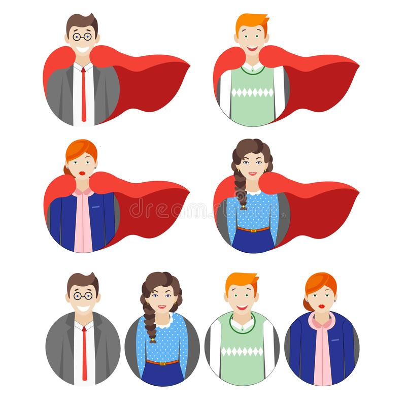 Hero people. Hero office people boss set royalty free illustration