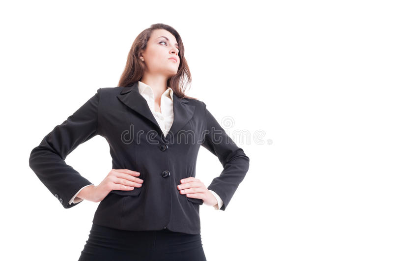 Hero shot of young successful and powerful business woman. Isolated on white background stock photo