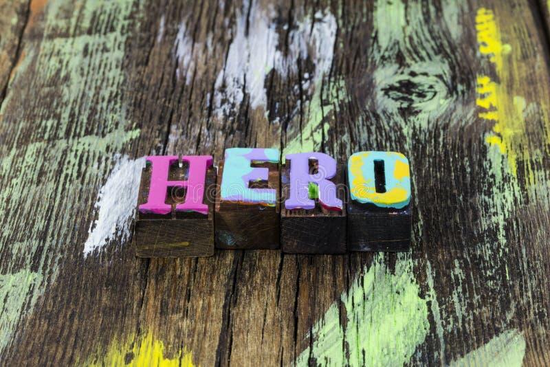 Hero superhero super power strength leadership style superman. Letterpress message letters word block strong brave confident leader teacher royalty free stock image