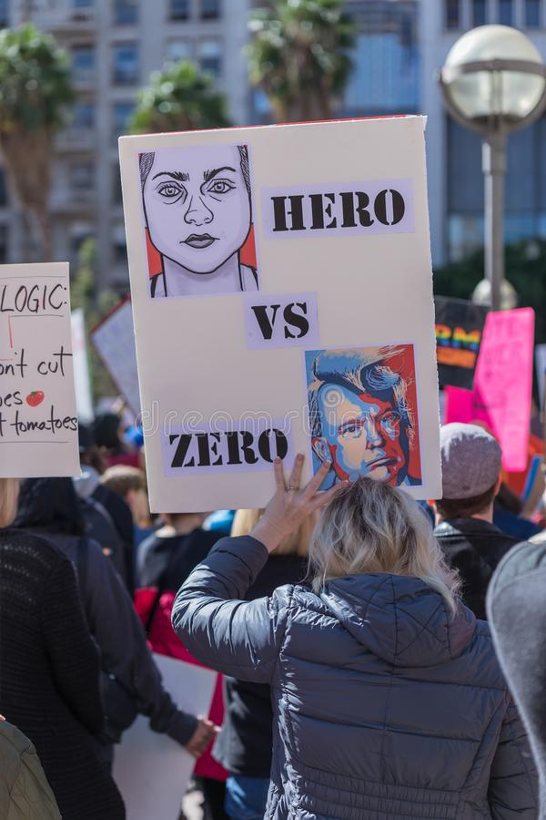 Hero vs zero sign at People`s Rally Against Gun Violence royalty free stock photo