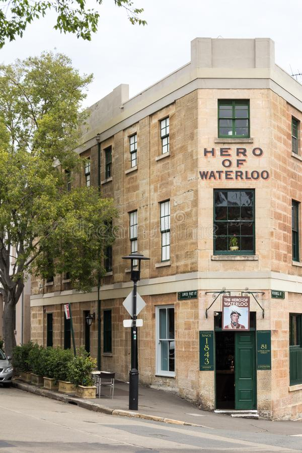 The Hero of Waterloo. Sydney, Australia - December 23rd 2013: The Hero of Waterloo public house, Lower Fort Street, The Rocks. This is the oldest area of the stock photography