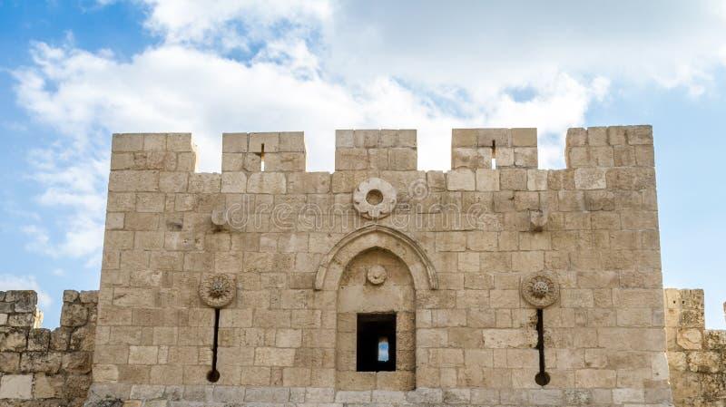 Herod` s Poort, Bloemenpoort in Jeruzalem, Israël royalty-vrije stock foto's
