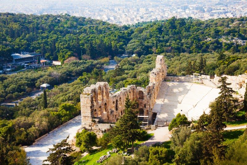 Herodes埃迪克Odeon在雅典 免版税库存照片