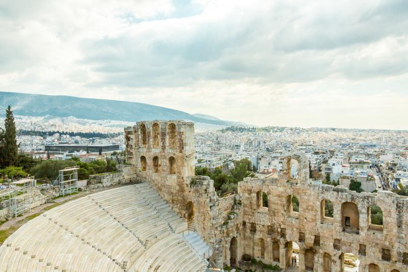 Herodes Atticus Odeon in Athene, Griekenland stock foto