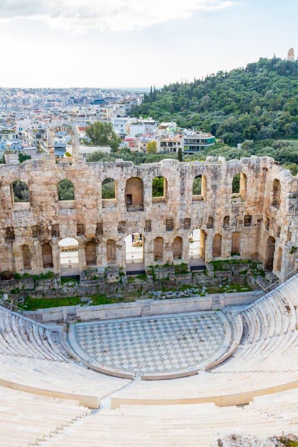 Herodes Atticus Odeon in Athene, Griekenland stock afbeeldingen