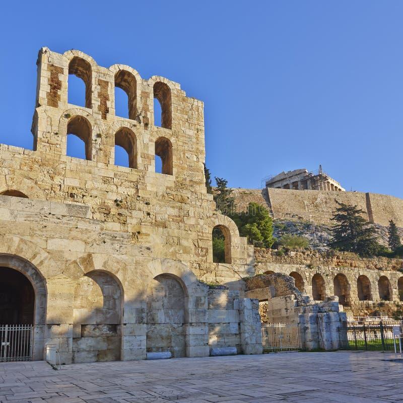 Herodions-Theater unter Akropolise, Athen Griechenland stockfotografie