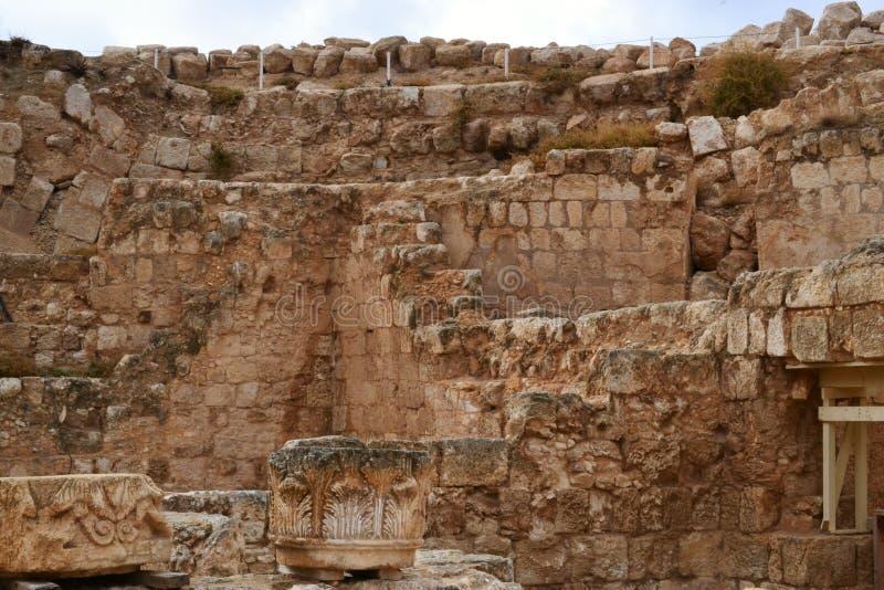 Herodium Herodion, fortaleza de Herod a grande, vista do território palestino, westbank, Palestina, Israel fotografia de stock royalty free