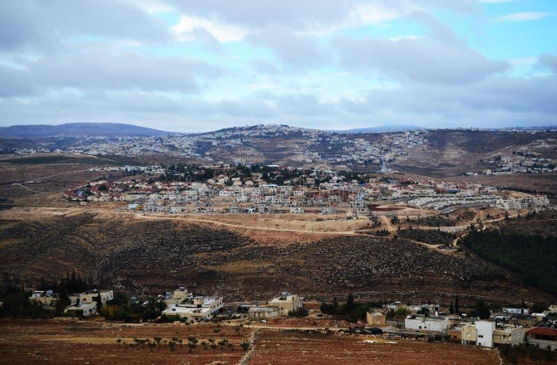 Herodium Herodion, Vesting van Herod Groot, mening van Palestijns grondgebied, Cisjordanië, Palestina, Israël stock foto's
