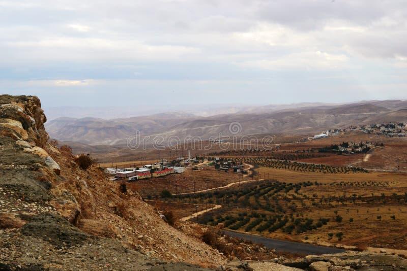 Herodium Herodion, Vesting van Herod Groot, mening van Palestijns grondgebied, Cisjordanië, Palestina, Israël royalty-vrije stock foto's