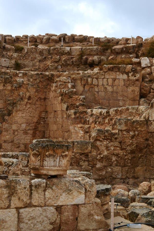 Herodium Herodion, Vesting van Herod Groot, mening van Palestijns grondgebied, Cisjordanië, Palestina, Israël stock fotografie