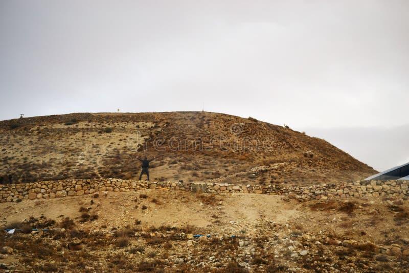 Herodium Herodion, Vesting van Herod Groot, mening van Palestijns grondgebied, Cisjordanië, Palestina, Israël royalty-vrije stock afbeelding