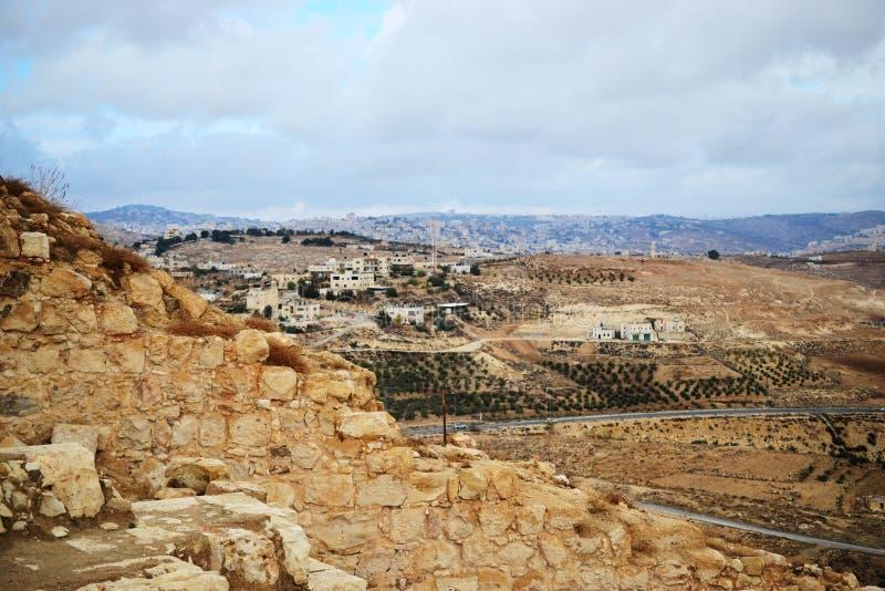 Herodium Herodion, Vesting van Herod Groot, mening van Palestijns grondgebied, Cisjordanië, Palestina, Israël stock afbeelding