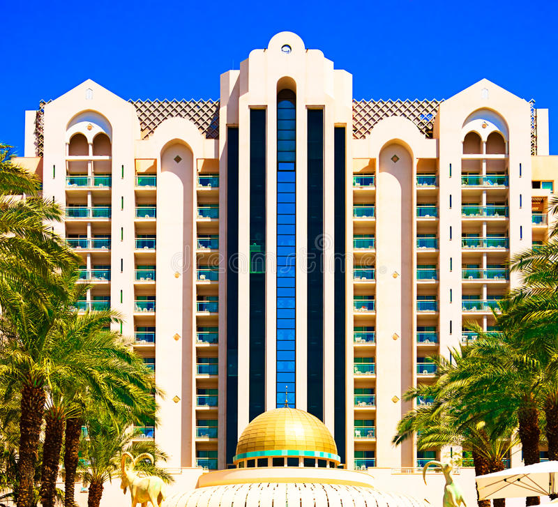 Herods Palace Hotel five stars. Front view. Eilat. royalty free stock photography
