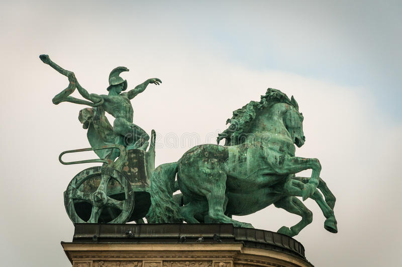 Heroes Square, Budapest, Hungary: Statues of Hungarian Kings and Heroes. stock photos