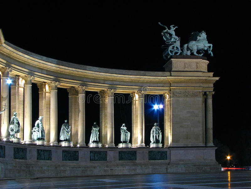 Heroes' square, Budapest nightscene royalty free stock photos
