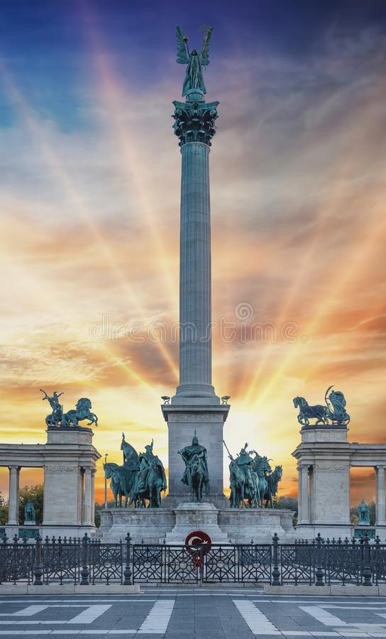 Heroes Square Hosok Tere in Budapest city, Hungary. Spectacular sunset colors. royalty free stock photo