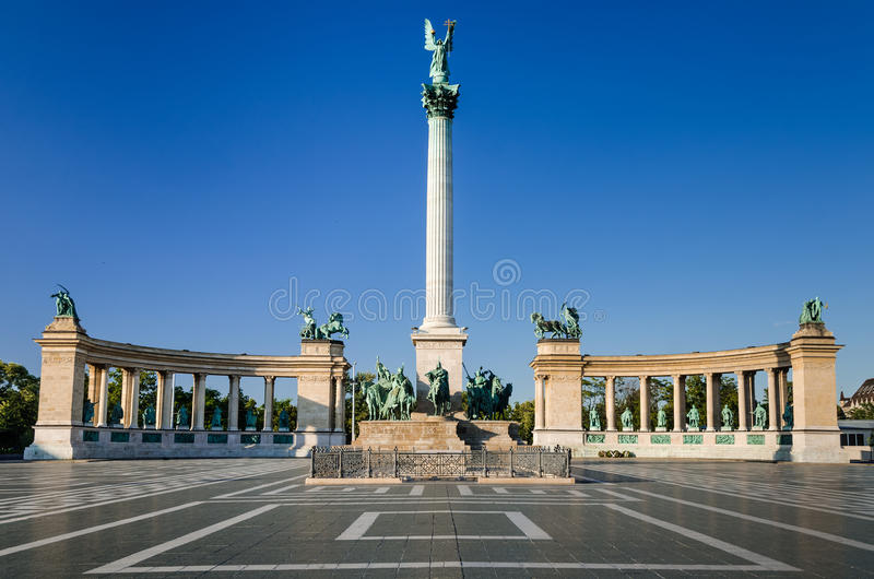 Heroes' Square, Millennium Monument, in Budapest stock photos