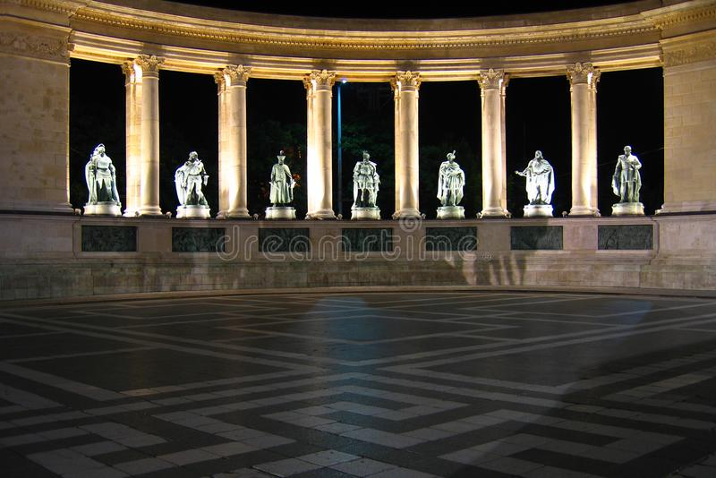 Heroes' Square at night - Budapest, Hungary stock image