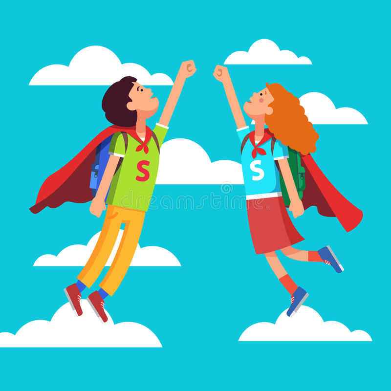 Heroes Super School Students kids stock illustration
