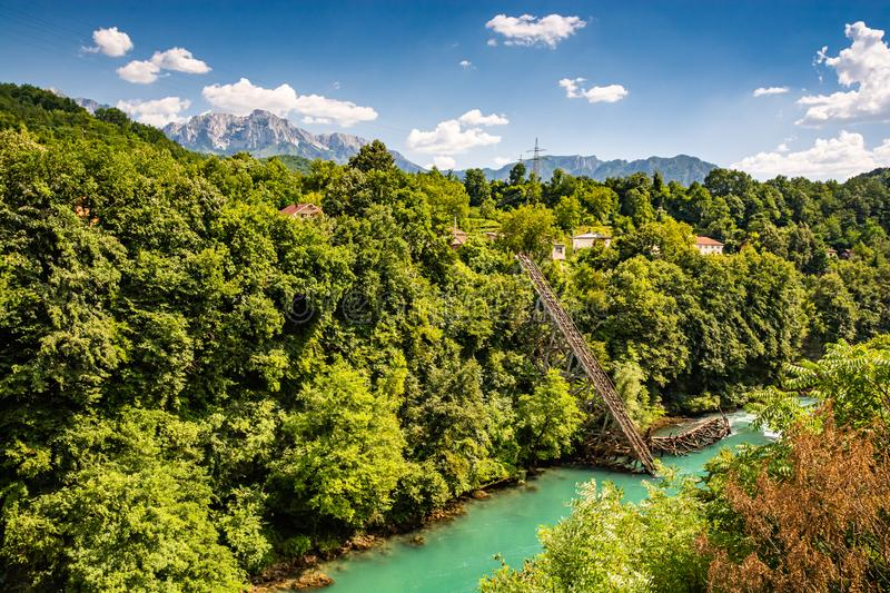 Heroic destroyed bridge in Jablanica above Neretva river in Bosnia and Herzegovina.  royalty free stock image