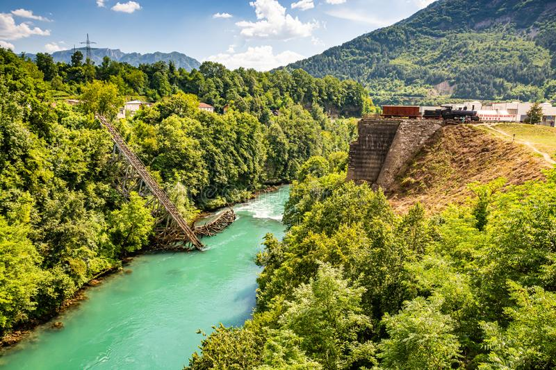 Heroic destroyed bridge in Jablanica above Neretva river in Bosnia and Herzegovina.  royalty free stock photography