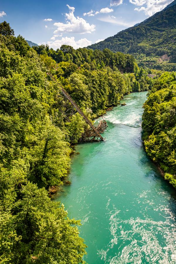 Heroic destroyed bridge in Jablanica above Neretva river in Bosnia and Herzegovina.  royalty free stock images