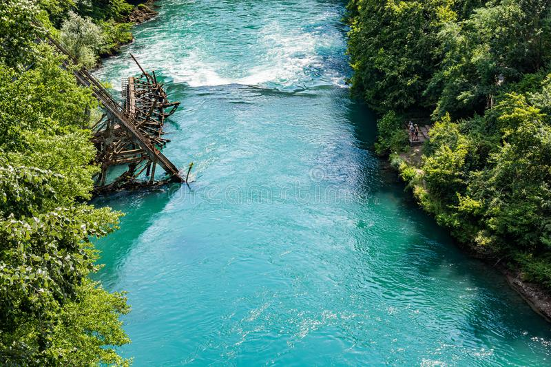 Heroic destroyed bridge in Jablanica above Neretva river in Bosnia and Herzegovina.  stock images