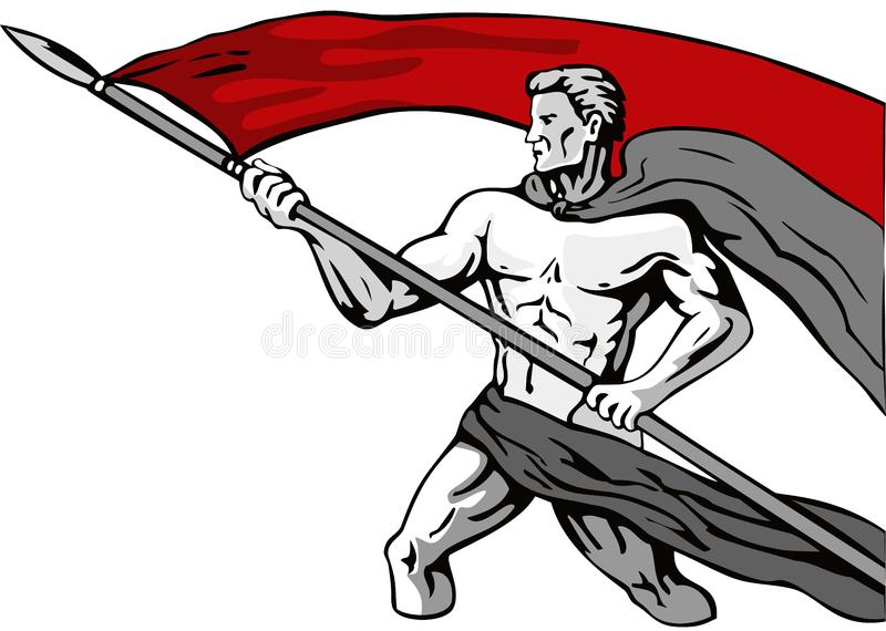 Heroic man carrying a banner royalty free stock images
