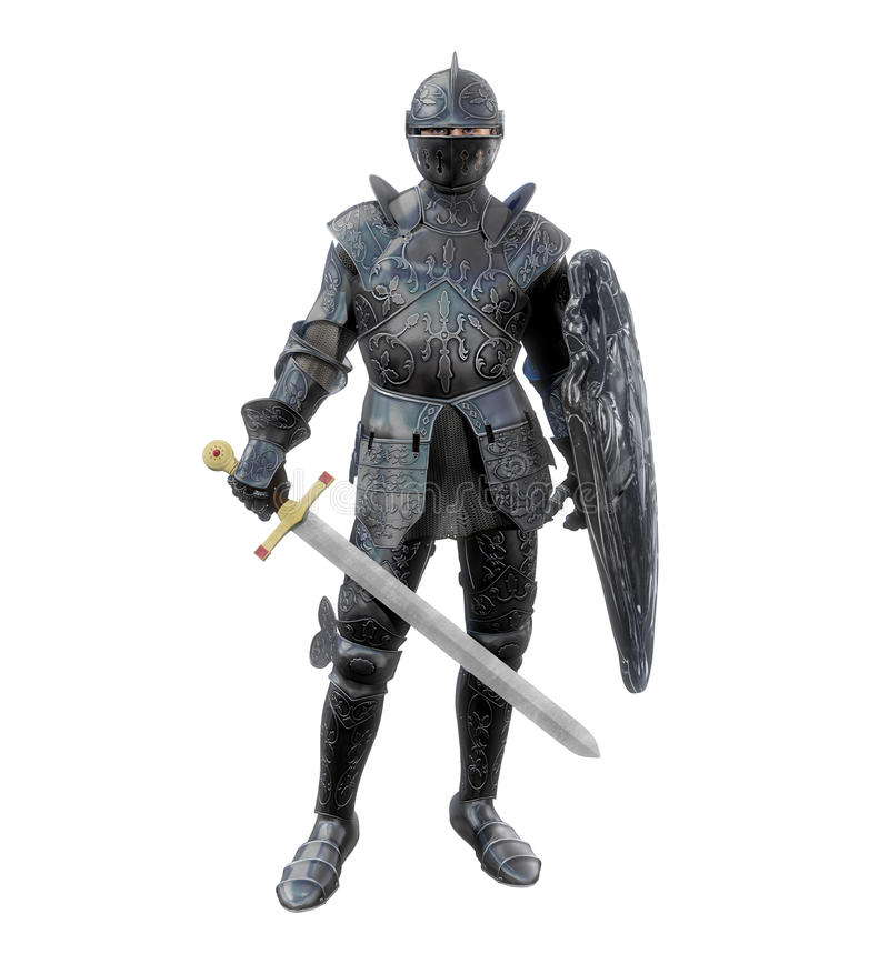 Heroic Medieval Knight in Battle Armour. Amazing realistic 3D render of a medieval knight in full battle armour with a broadsword and a shield stock illustration