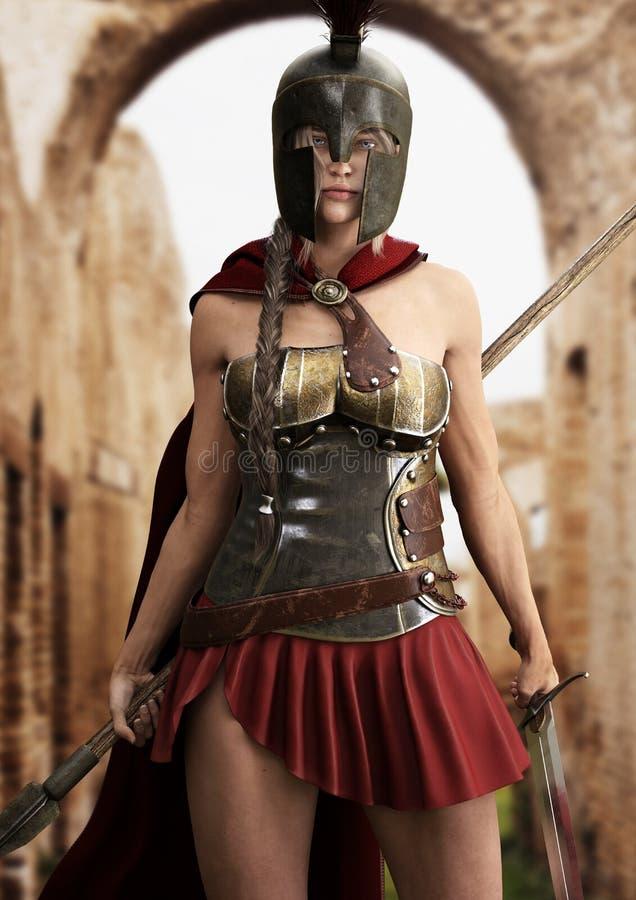 Heroic Spartan ist bereit für eine Schlacht mit Speer und Schwert vektor abbildung