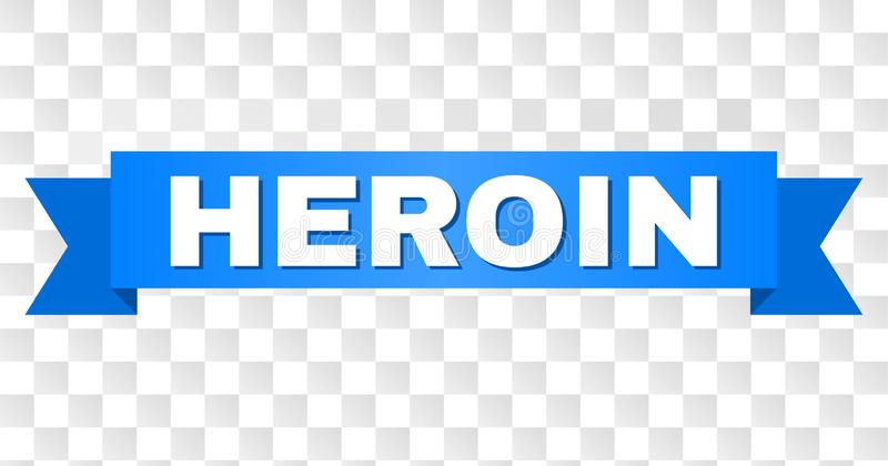 Blue Tape with HEROIN Title. HEROIN text on a ribbon. Designed with white caption and blue stripe. Vector banner with HEROIN tag on a transparent background vector illustration
