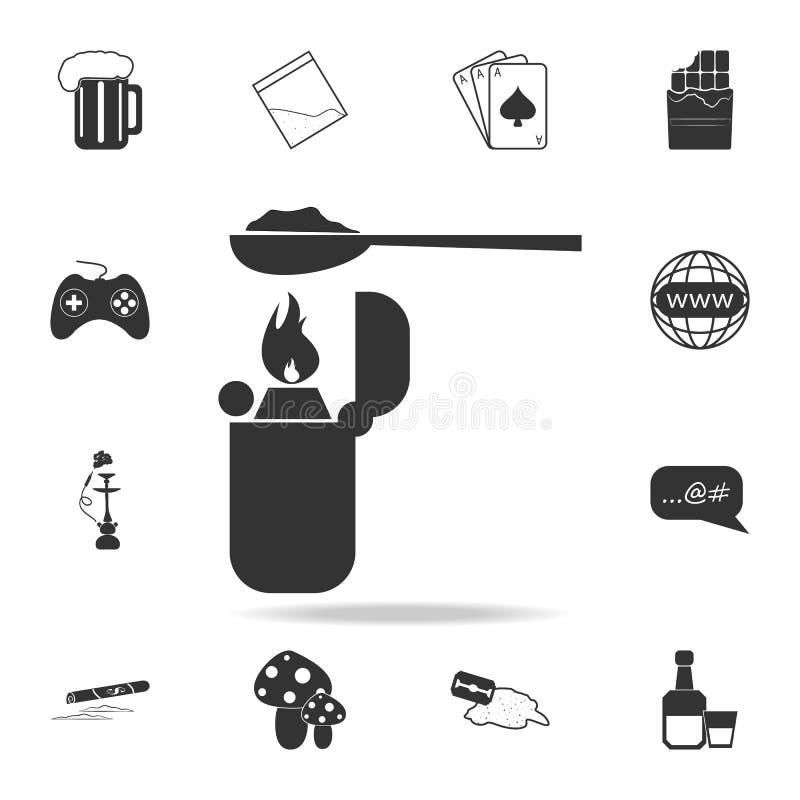 Heroina w łyżce nad lekkim iconSet Ludzka słabości i nałogu elementu ikona Premii ilości graficzny projekt Znaki, kontur ilustracja wektor