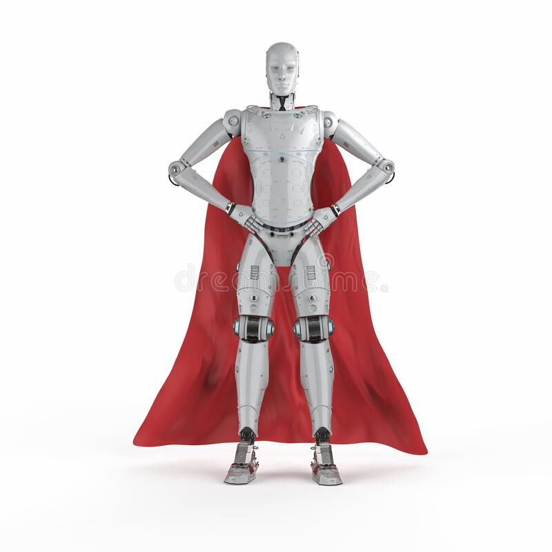Free Heroine Cyborg With Red Cloak Royalty Free Stock Image - 178866296