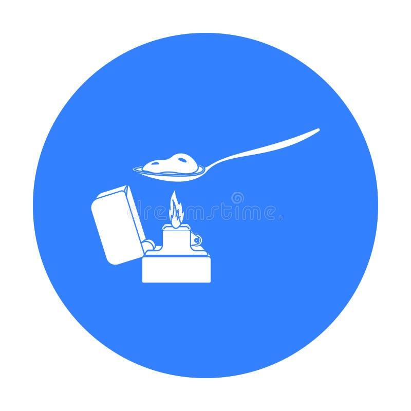 Heroiny ikona w czerń stylu odizolowywającym na białym tle Leka symbolu zapasu wektoru ilustracja royalty ilustracja