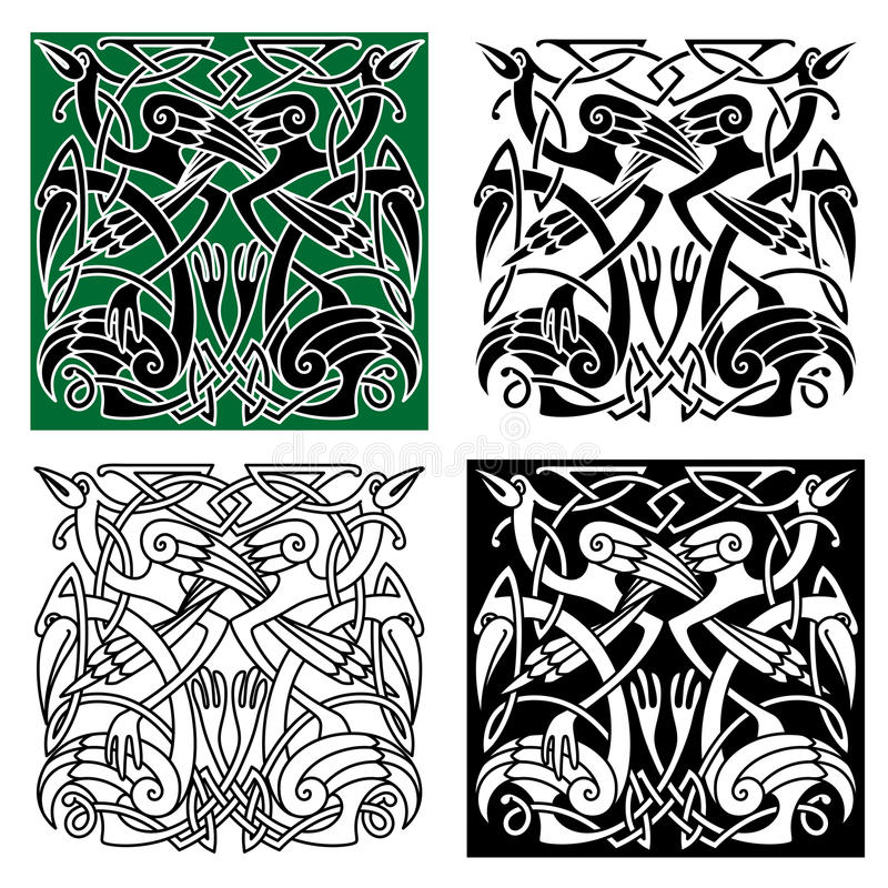 Heron Birds With Celtic Ornament Stock Vector Illustration Of