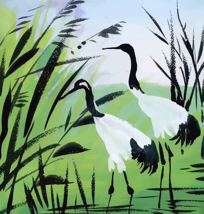 Heron birds watercolor vector illustration vector illustration