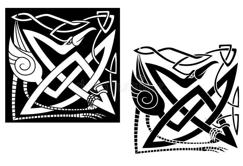 Heron på celtic prydnad vektor illustrationer