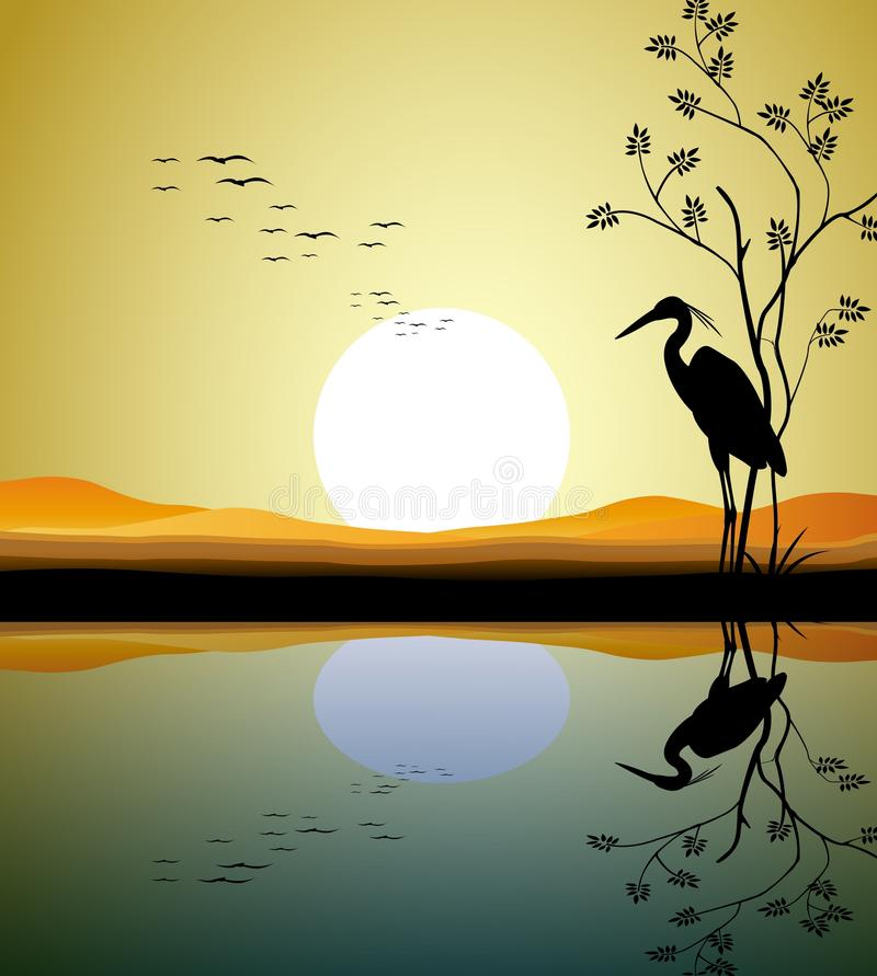 Download Heron silhouette on lake stock illustration. Image of calm - 28705143