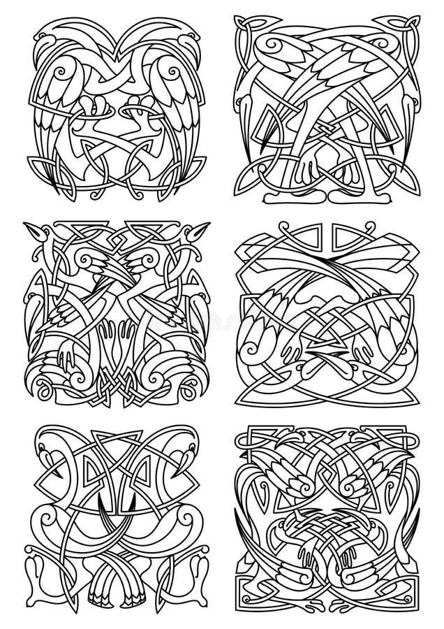 Heron, stork and crane celtic ornaments royalty free illustration