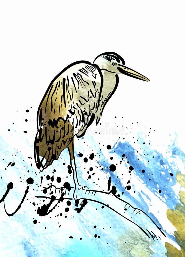 Heron on watercolor splashes on white background royalty free illustration
