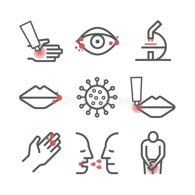 herpes Sintomas, tratamento Linha ícones ajustados Sinais do vetor para gráficos da Web ilustração do vetor