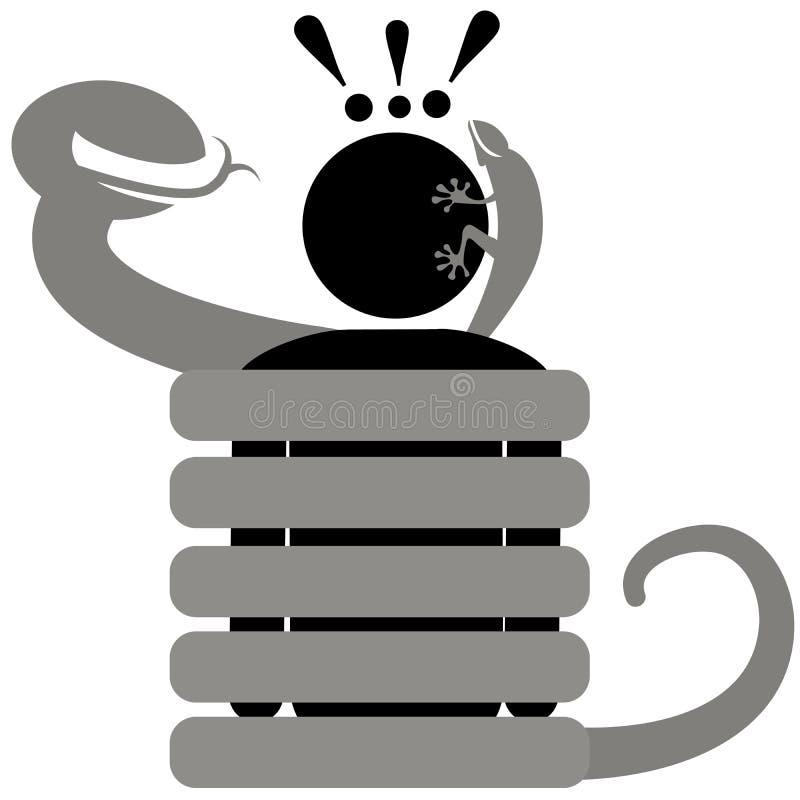Herpetophobia OPHIDIOPHOBIA fobi Skräck eller avoghet till reptilar Mannen hatar ormar och ödlor Afraided man stock illustrationer