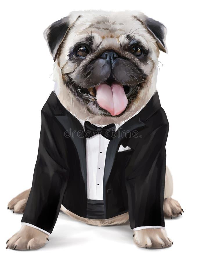 Herr der französischen Bulldogge lizenzfreie abbildung