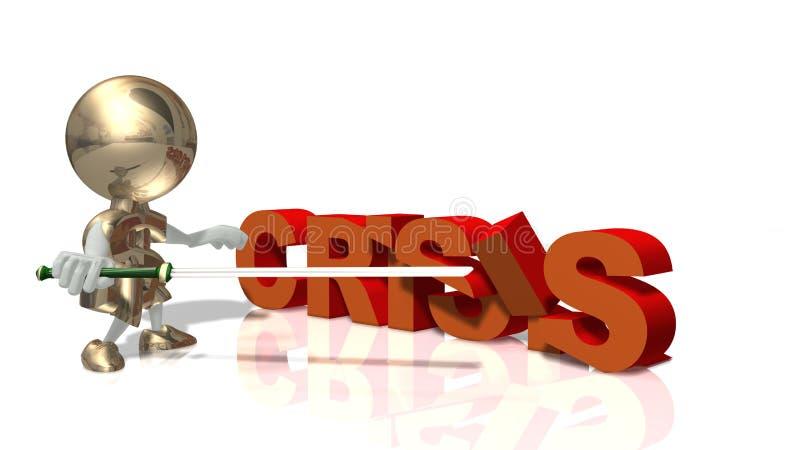 Herr Dollar und globale Wirtschaftskrise lizenzfreie abbildung